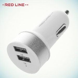 Автомобильная зарядка 2 USB порта 1А  C19 белый с серебром