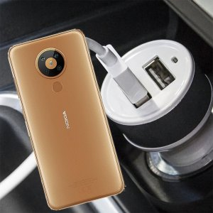 Автомобильная зарядка для Nokia 5.3 высокой мощности 2 USB 2.1A