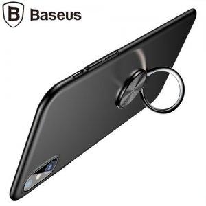 Baseus Ring Bracket Тонкий матовый чехол с кольцом для iPhone Xs / X - Черный