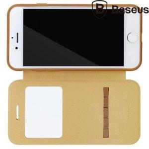 Baseus Simple Series чехол с функцией умного ответа для iPhone 8/7 - Коричневый