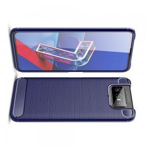 Carbon Силиконовый матовый чехол для Asus Zenfone 7 ZS670KS - Синий