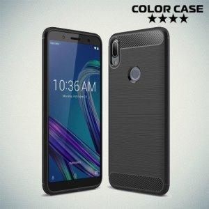 Carbon Силиконовый матовый чехол для Asus Zenfone Max Pro (M1) ZB601KL - Черный