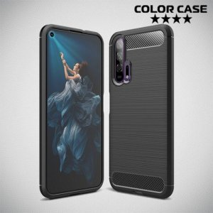 Carbon Силиконовый матовый чехол для Huawei Honor 20 Pro - Черный