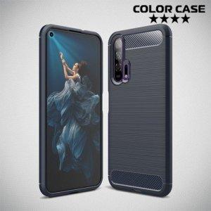 Carbon Силиконовый матовый чехол для Huawei Honor 20 Pro - Синий