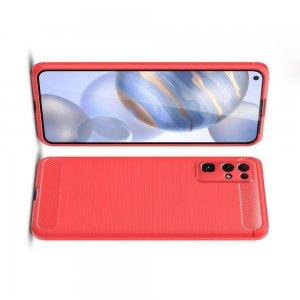 Carbon Силиконовый матовый чехол для Huawei Honor 30 - Красный