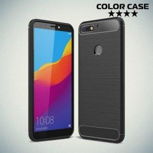 Carbon Силиконовый матовый чехол для Huawei Honor 7C / Honor 7A Pro / Y6 Prime 2018 - Черный