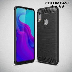 Carbon Силиконовый матовый чехол для Huawei Honor 8A / Y6 2019 / Honor 8A Pro - Черный