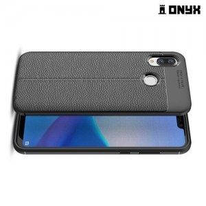 Leather Litchi силиконовый чехол накладка для Huawei Honor Play - Черный