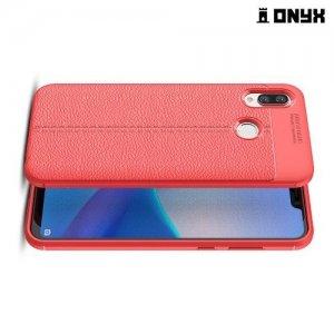 Leather Litchi силиконовый чехол накладка для Huawei Honor Play - Коралловый