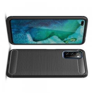 Carbon Силиконовый матовый чехол для Huawei Honor View 30 - Черный