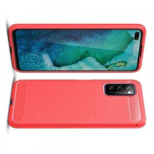 Carbon Силиконовый матовый чехол для Huawei Honor View 30 - Красный