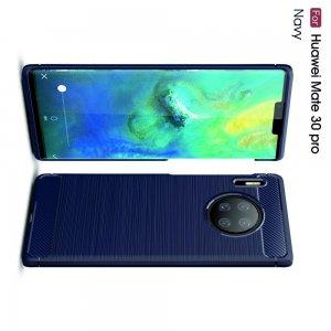 Carbon Силиконовый матовый чехол для Huawei Mate 30 Pro - Синий