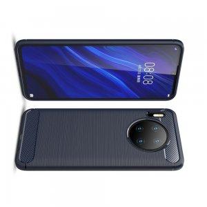 Carbon Силиконовый матовый чехол для Huawei Mate 30 - Синий