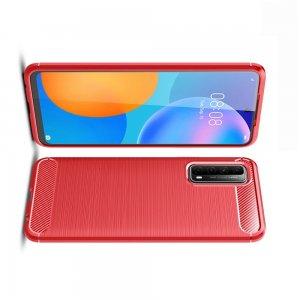 Carbon Силиконовый матовый чехол для Huawei P Smart 2021 - Красный