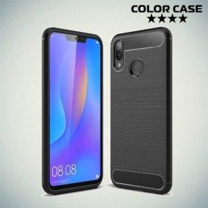 Carbon Силиконовый матовый чехол для Huawei P smart+ / Nova 3i - Черный