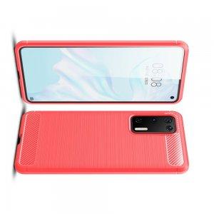 Carbon Силиконовый матовый чехол для Huawei P40 - Красный