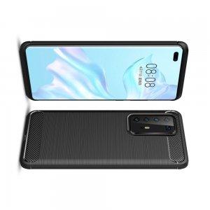 Carbon Силиконовый матовый чехол для Huawei P40 Pro - Черный
