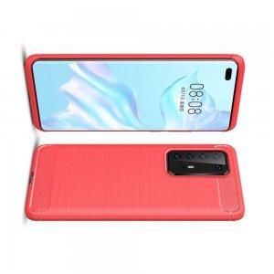 Carbon Силиконовый матовый чехол для Huawei P40 Pro - Красный