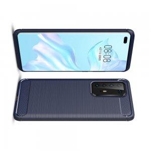 Carbon Силиконовый матовый чехол для Huawei P40 Pro - Синий