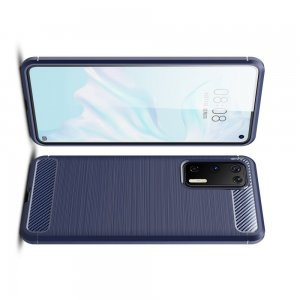 Carbon Силиконовый матовый чехол для Huawei P40 - Синий