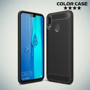 Carbon Силиконовый матовый чехол для Huawei Y9 2019 - Черный