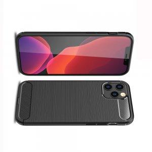 Carbon Силиконовый матовый чехол для iPhone 12 / 12 Pro - Черный