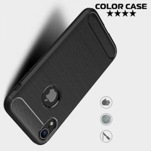 Carbon Силиконовый матовый чехол для iPhone XR - Черный