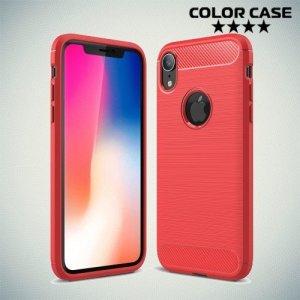 Carbon Силиконовый матовый чехол для iPhone XR - Коралловый