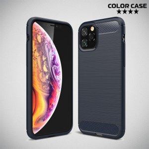 Carbon Силиконовый матовый чехол для iPhone 11 Pro - Синий