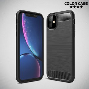 Carbon Силиконовый матовый чехол для iPhone 11 - Черный