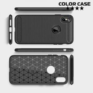 Carbon Силиконовый матовый чехол для iPhone XS Max - Черный