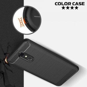 Carbon Силиконовый матовый чехол для LG Q Stylus+ Q710 - Черный