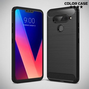 Carbon Силиконовый матовый чехол для LG V40 ThinQ - Черный