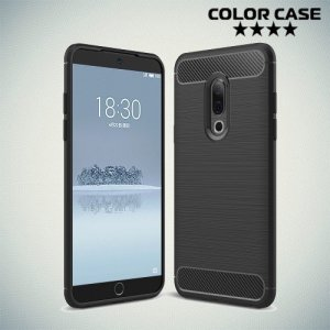 Carbon Силиконовый матовый чехол для Meizu 15 Plus - Черный