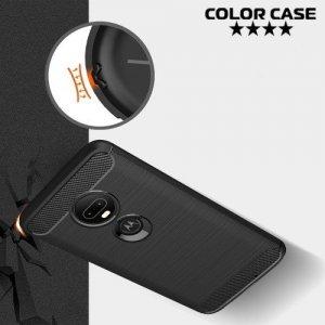 Carbon Силиконовый матовый чехол для Motorola Moto G7 - Серый