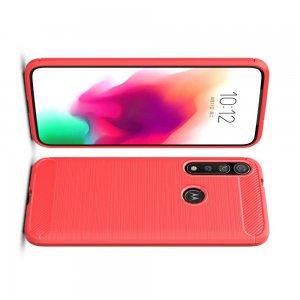 Carbon Силиконовый матовый чехол для Motorola Moto G8 Plus - Красный