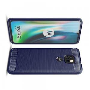 Carbon Силиконовый матовый чехол для Motorola Moto G9 Play / Moto E7 Plus - Синий