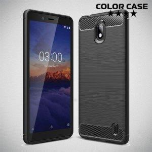 Carbon Силиконовый матовый чехол для Nokia 1 Plus - Черный