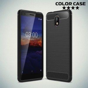 Carbon Силиконовый матовый чехол для Nokia 3.1 2018 - Черный