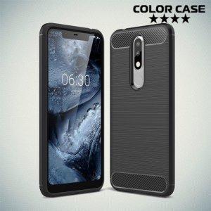 Carbon Силиконовый матовый чехол для Nokia 5.1 Plus - Черный