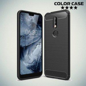 Carbon Силиконовый матовый чехол для Nokia 7.1 - Черный