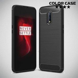 Carbon Силиконовый матовый чехол для OnePlus 7 - Черный