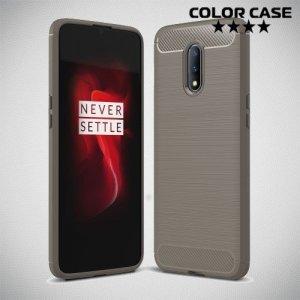 Carbon Силиконовый матовый чехол для OnePlus 7 - Серый