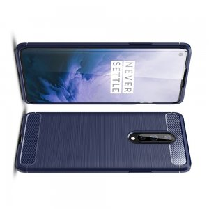 Carbon Силиконовый матовый чехол для OnePlus 8 - Синий