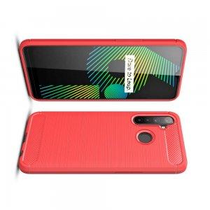 Carbon Силиконовый матовый чехол для Realme 6i - Красный
