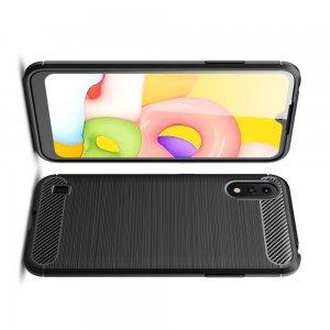 Carbon Силиконовый матовый чехол для Samsung Galaxy A01 - Черный