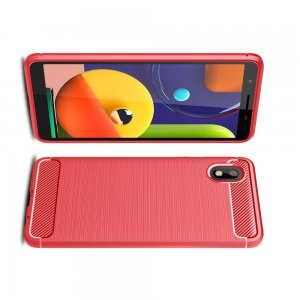 Carbon Силиконовый матовый чехол для Samsung Galaxy A01 Core - Красный
