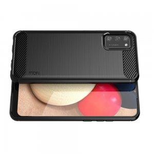 Carbon Силиконовый матовый чехол для Samsung Galaxy A02s - Черный
