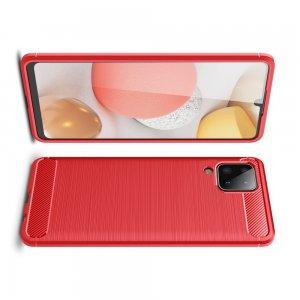 Carbon Силиконовый матовый чехол для Samsung Galaxy A12 - Красный