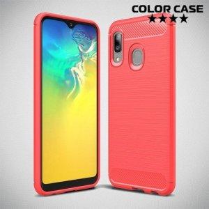 Carbon Силиконовый матовый чехол для Samsung Galaxy A20e - Коралловый